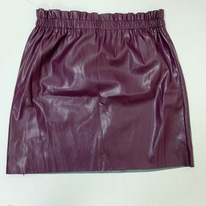 Loft Women's Purple vegan leather paper bag skirt